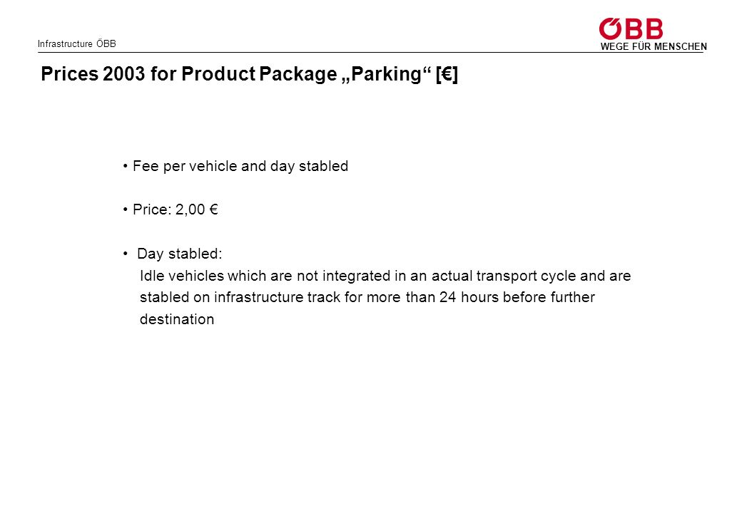 """Prices 2003 for Product Package """"Parking [€]"""